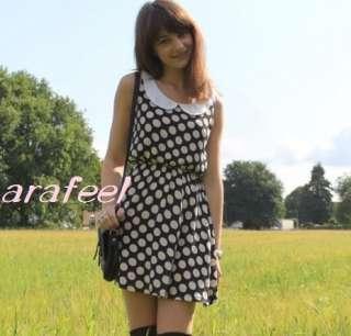 Dots Circular white beige black mini dress top Peter Pan Collar