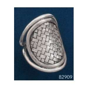 Oval Weave Design Sterling Silver Ring, 1 5/16 inch wide Jewelry