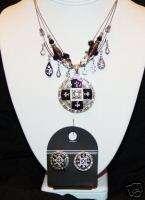 BLACK white crystal FLEUR DE LIS necklace earring *NWT*