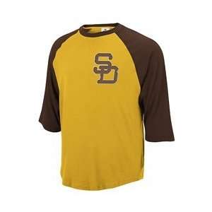 San Diego Padres Rotation 3/4 Sleeve Jersey T Shirt by Reebok   Brown