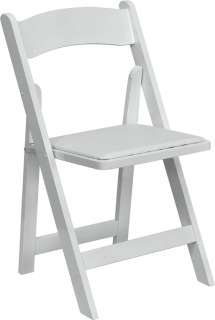 Lot of 50 White Wood Folding Chairs Vinyl Padded Seat