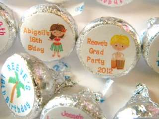 Personalized Hawaiian Luau Hershey Kiss Stickers Favors Labels Kisses