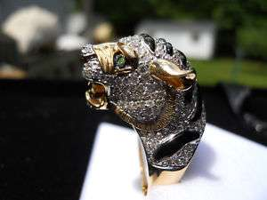 Neda Behnam 18K Onyx Garnet and Diamond Tiger Ring