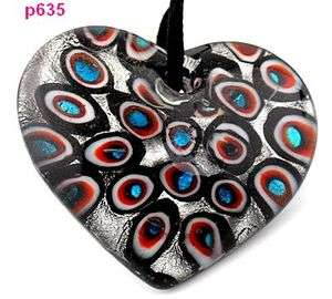 painting holes heart Murano Lampwork Glass Pendant Necklace p635