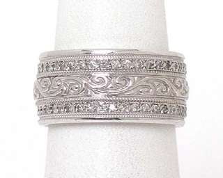 INTRICATE 14k WHITE GOLD & DIAMONDS WIDE BAND RING