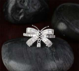Butterfly 1.06ct Baguette/Round DIAMOND 14K White GOLD ENGAGEMENT RING