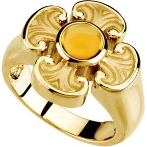 14K GOLD/ST. SILVER GENUINE CITRINE MALTESE CROSS RING