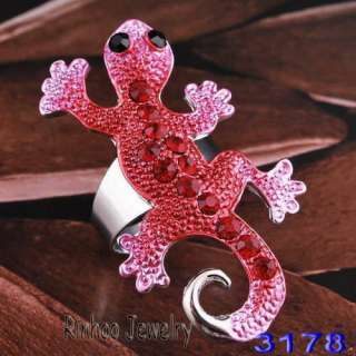 carmine house lizard adjustable rings white gold plated free