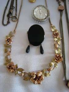 HUGE Victorian Ca 1880 Lot of Jewelry Cameo, W/Chains, Pins