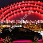 4pc Red Underglow Car LED Neon Lights Lighting w. Wireless Remote