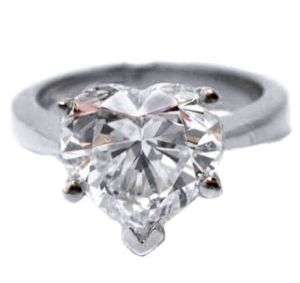 50 Carat Heart Shape Diamond Solitaire Ring H VS