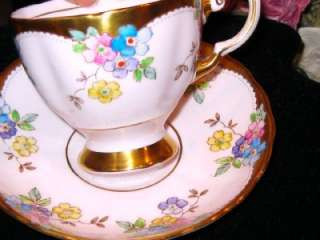 TUSCAN HAND PAINTED ENAMEL PINK GOLD Tea Cup and Saucer FLORAL
