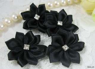 Satin Ribbon Flower Rhinestone Appliques x25 Black