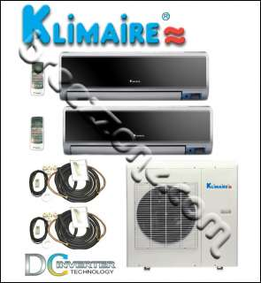 KLIMAIRE DUAL ZONE MINI SPLIT A/C HEAT PUMP INVERTER 16 SEER 2x12000