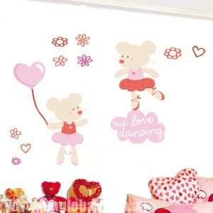 CUTE BALLERINA MOUSE Kids Wall sticker for Kids room/Nursery, sheet