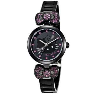 Hello Kitty Womens Crystal Watch Ribbon LK601LW Black