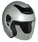 DOT Silver Three Quarter Flip Shield Motorcycle Helmet