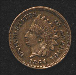 From an old PA estate 1864 Copper Nickel Indian Cent, strong Fine