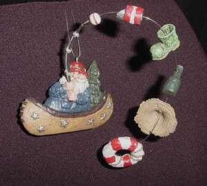 SANTA Fishing IN Canoe*Holiday Christmas Ornament*Ceramic*New*Gift