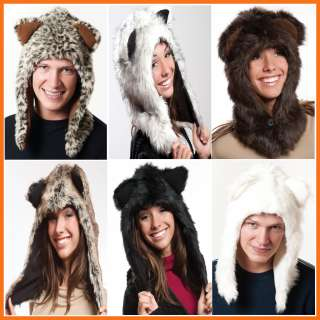 Fluffy Plush Animal Hood Hoodie Hat Trapper Trooper Beanie Hats