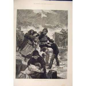 Life Boat Sea Rescue Storm Fine Art 1885 Antique Print