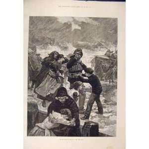 Life Boat Sea Rescue Storm Fine Art 1885 Antique Print
