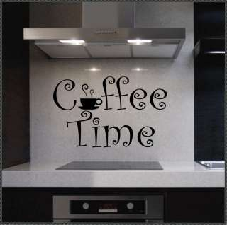 Vinyl Wall Lettering Quotes Coffee Time cup kitchen decal