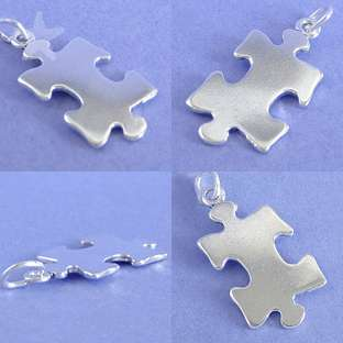 JIGSAW PUZZLE PIECE Sterling Silver Charm Pendant