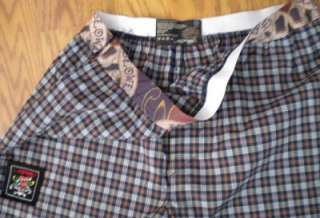 NWT Mens M ED HARDY Tattoo Navy Blue & Red Plaid Pajama LOUNGE PANTS
