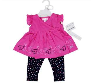 NWT DKNY Baby Embroidered Heart Top & Leggings Sz 0 9M