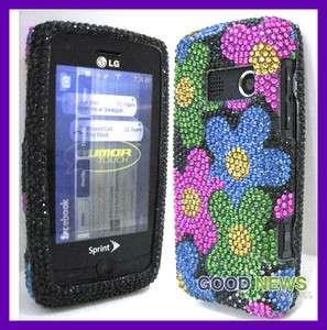 LG Rumor Touch LN 510   Flower Crystal Diamond Bling Case Phone Cover