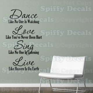 LOVE SING LIVE LIKE NO ONE IS WATCHING Quote Vinyl Wall Decal Decor
