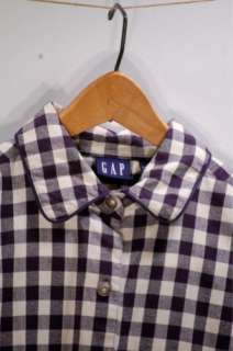 Flannel Navy Gingham Button Up Western Style Shirt   Womens M