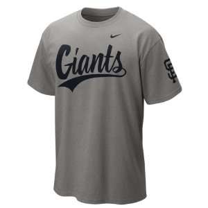 San Francisco Giants Grey Heather Nike 2012 Script Wordmark T Shirt