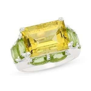 11 1/6 Carat Green Gold Quartz and Peridot Sterling Silver