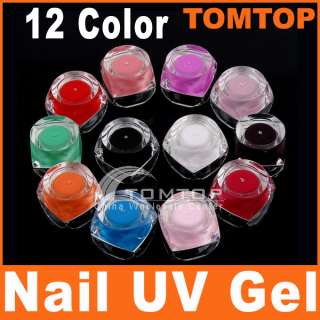 12 Colors UV Gel Acrylic Nail Art Glitter Builder Set
