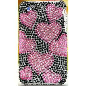 IPHONE 3G 3GS FULL DIAMOND CASE BLACK HOT PINK HEART