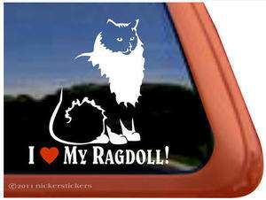 LOVE MY RAGDOLL ~ Ragdoll Cat Kitty Kitten Window Decal Sticker