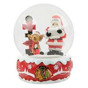 Chicago Blackhawks Holiday Snow Globe  Sports & Outdoors