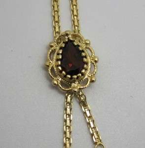 14k Yellow GOLD Pear Cut Garnet Antique Style Necklace