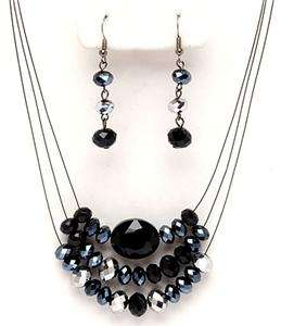 LAYERS BLACK SILVER GLASS FACETED CRYSTAL BEAD NECKLACE EARRING
