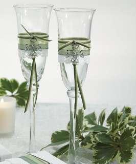 Irish Celtic Charm Trinity Knot Wedding Toasting Flutes