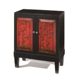 Asian Fusion 2 door Cabinet 30hx24.5w Distrss Blk/red