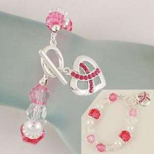 Cancer ~ Pink Ribbon Heart Charm ~ White/Pink/Red Beads Everything