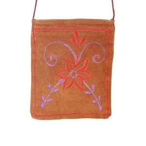 Thread Work Suede Leather Ladies Purse Style Handbag Tan #510suede