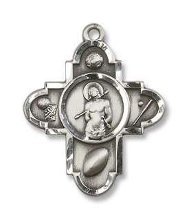Sterling silver st maximilian kolbe patron saint of addicts and drug sterling silver st sebastian pendant st saint cross c aloadofball Images