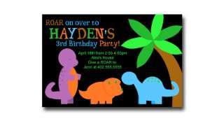 Custom Retro Dinosaur Birthday Party Invitations