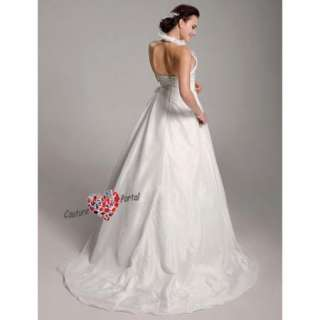 line Halter Brush Train Taffeta Organza Wedding Dress