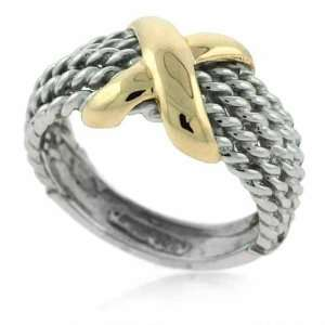 Solid 14K Gold and Silver Two Tone X & Cable Design Ring Jewelry