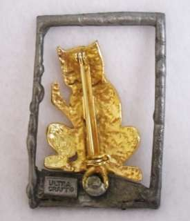 Vintage Ultra Craft Signed Cat in a Window Brooch Pin